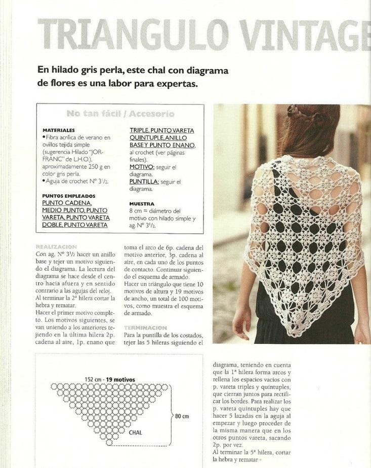 Chal tejido en crochet forma triangular - Crochet Patrones
