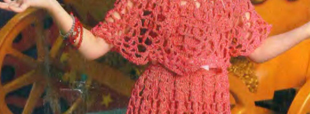 Esquema Traje de niña en crochet con corona - Crochet Patrones
