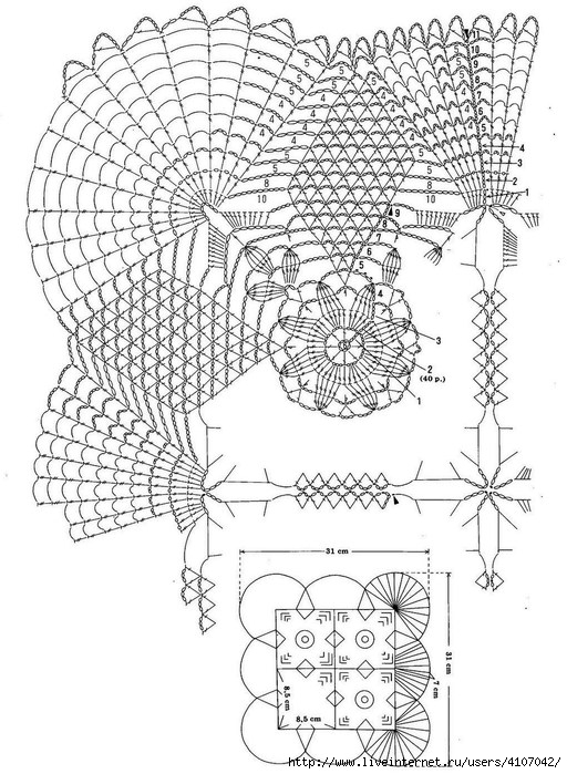 Patrón Mantel de crochet con grany ⋆ Crochet Patrones