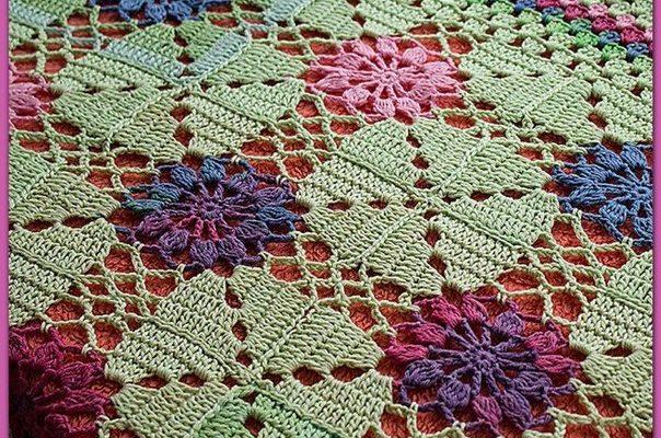Manta crochet esquema motivo - Crochet Patrones